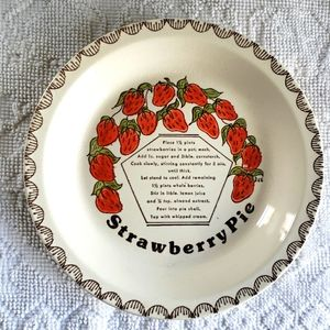 Vintage 70s Strawberry Pie Recipe Tray Dish Plate